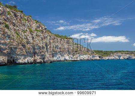 Menorca island south coast cliffs, Spain.