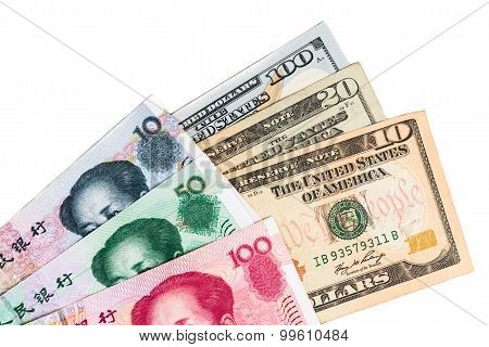 Close Up Of China Yuan Renminbi Currency Note Against Us Dollar