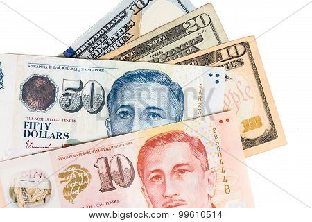 Close Up Of Singapore Dollar Currency Note Against Us Dollar