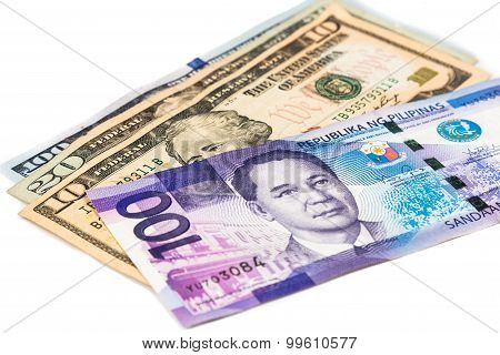 Close Up Of Philippines Piso Currency Note Against Us Dollar