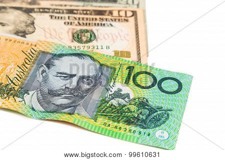 Close Up Of Australian Dollar Currency Note Against Us Dollar