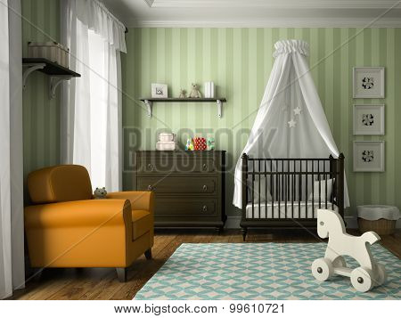Classic children room with green stripes wall 3D rendering