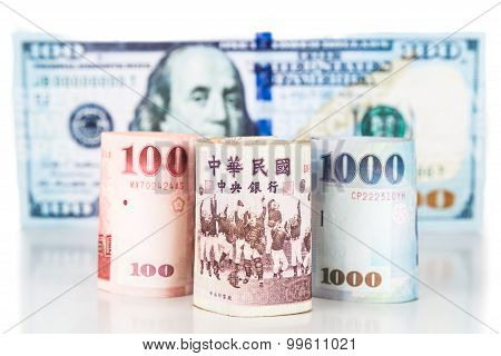Close Up Of New Taiwan Currency Note Against Us Dollar