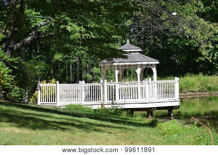 gazebo by a pond