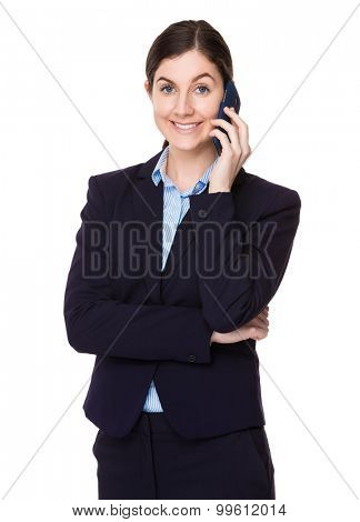 Brunette businesswoman talk to cellphone