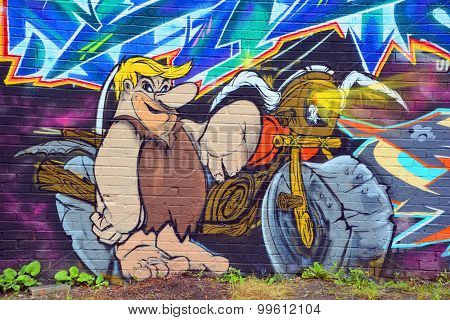 Street art Barney Rubble
