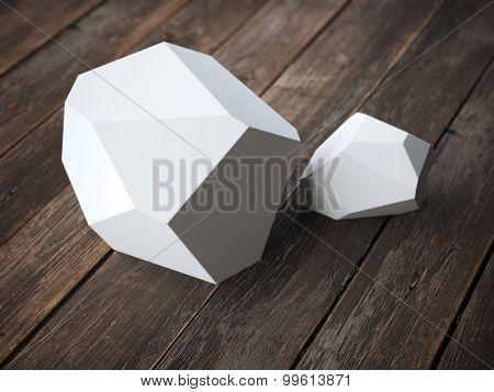 Two white polyhedron