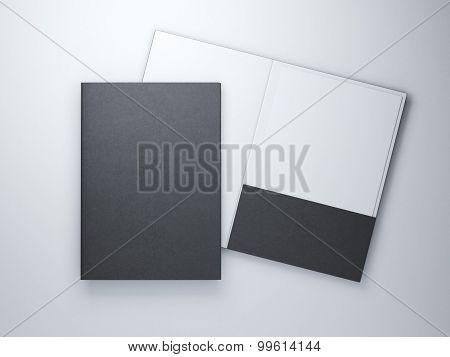 Two blank black folders