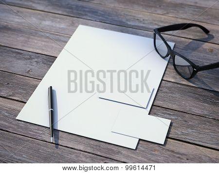 White branding mockup with black glasses