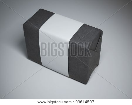 Box of black paper with white label
