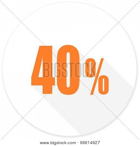 40 percent flat design modern icon with long shadow for web and mobile app