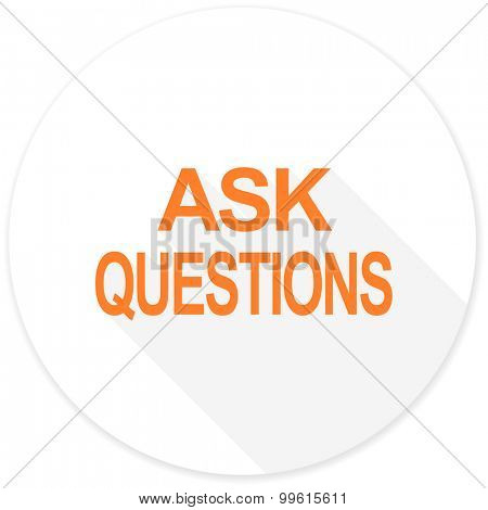 ask questions flat design modern icon with long shadow for web and mobile app