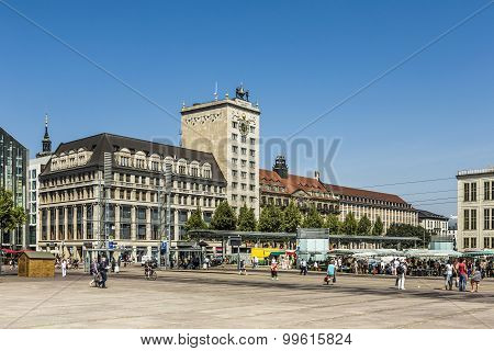 Old Town Hall In Leipzig With People At Marketplace