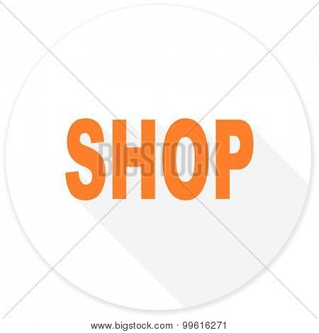 shop flat design modern icon with long shadow for web and mobile app