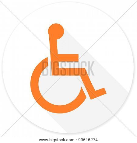 wheelchair flat design modern icon with long shadow for web and mobile app