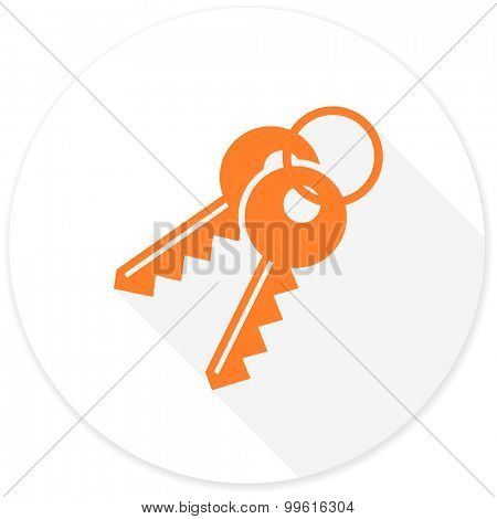 keys flat design modern icon with long shadow for web and mobile app