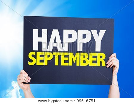 Happy September card with sky background