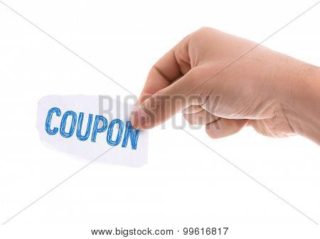 Piece of paper with the word Coupon isolated on white background