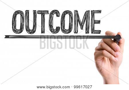 Hand with marker writing the word Outcome