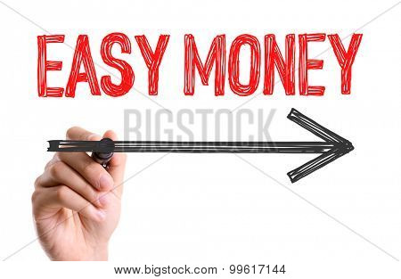 Hand with marker writing the word Easy Money