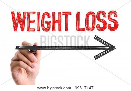 Hand with marker writing the word Weight Loss
