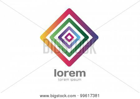 Abstract square logo vector template. Corner geometric shape and symmetric symbol, square icon, box logo or box shape. Company logo. Geometric design.