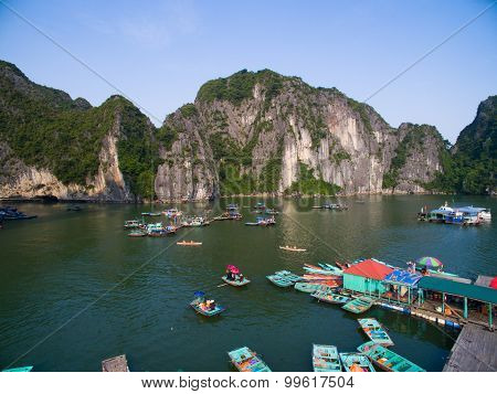 Floating village from high view in Halong bay, Vietnam