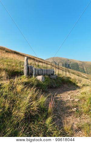 Swiss mountain landscape, pasture with manger