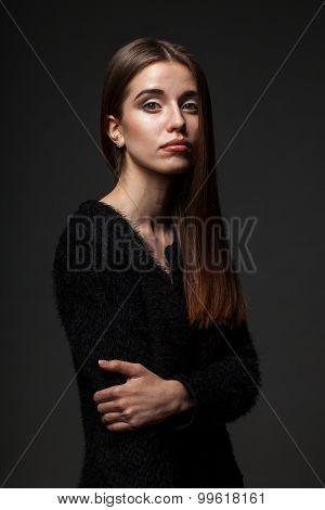 fashion woman low key portait