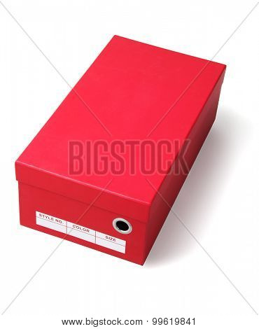 Red Shoes Box on White Background