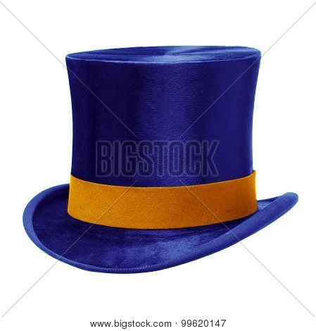 Blue Top Hat Against White