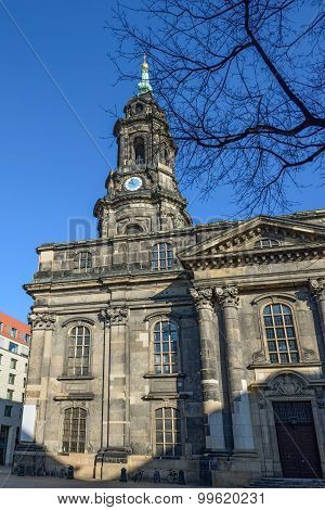 Exterior Of Kreuzkirche In Dresden, Saxony, Germany.