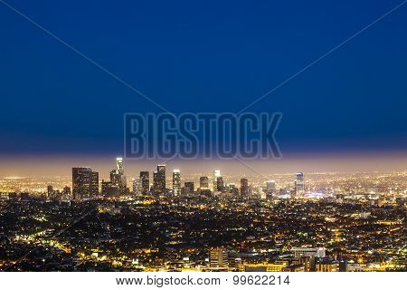 Skyline Of Los Angeles By Night