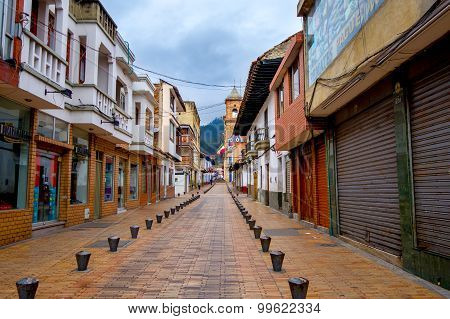 Beautiful historic city center at Zipaquira, commercial area, located in the middle of Colombia, 48