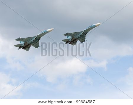 Powerful Military Su-30 Flying In The Sky