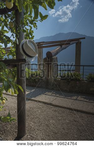 Limone sul Garda wood structures to protect the lemon trees