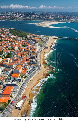 Aerial view of the beach in the city of Porto