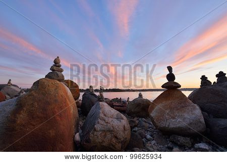 Balanced Rock Sculptures At English Bay During Sunset