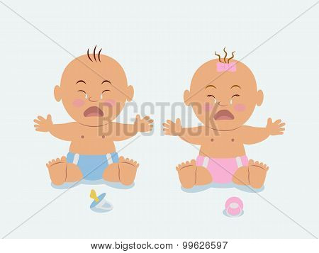 Boy and girl sitting in diapers and crying