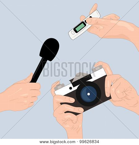 Hands of journalists with microphone, camera and tape recorder