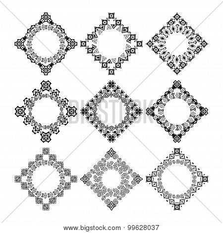 Set Of Decorative Circular And Hexagon Elements For Design In Ethnic Style