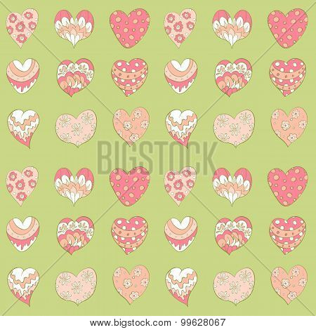 colorful valentines hearts seamless pattern. vector background