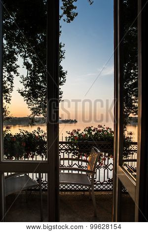 Room view over Constance Lake, Germany.