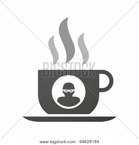 Cup Of Coffee Icon  With A Thief