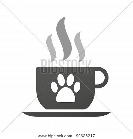 Cup Of Coffee Icon  With An Animal Footprint
