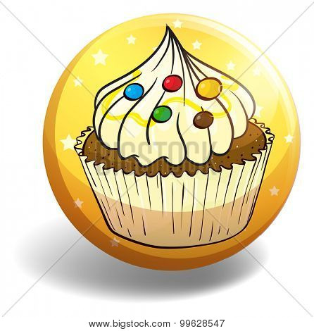 Cupcake on yellow badge illustration