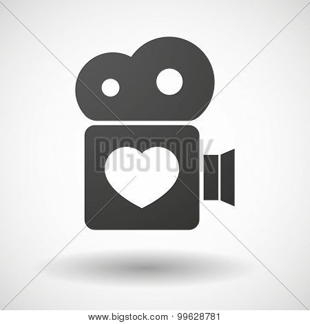 Cinema Camera Icon With A Heart