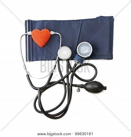 Stethoscope And Hemopiezometer Isolated On White Background