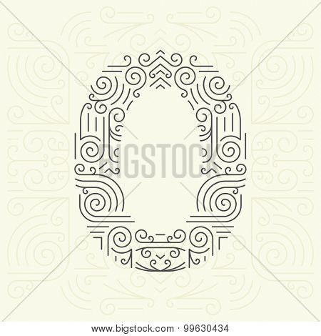 Vector Mono Line style Geometric Font for Your Text. Golden Monogram Design element for Labels and Badges. Number 0