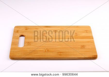 Wooden Chopping Block Isolated With White Background